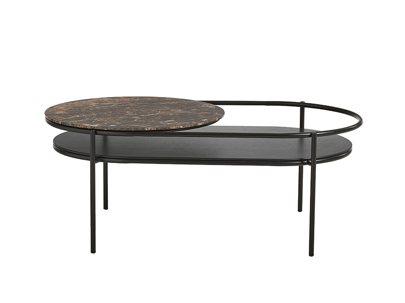 TABLE BASSE 110752 VERDE NOIR & MARBRE MARRON (VUE DE FACE) woud