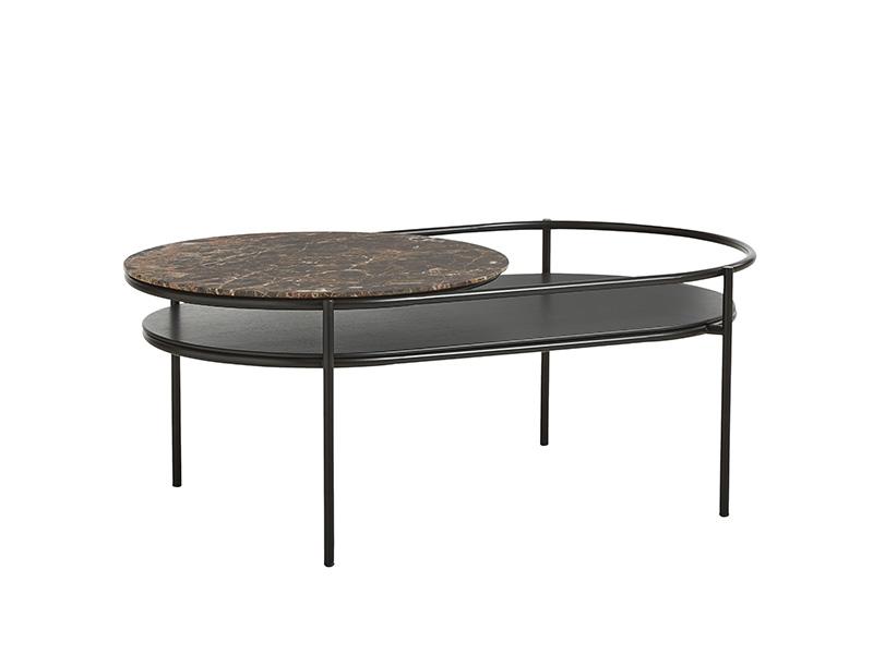 TABLE BASSE 110752 VERDE NOIR & MARBRE MARRON (VUE DE PROFIL) woud
