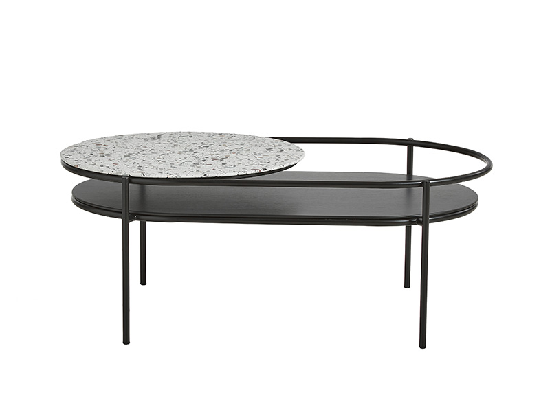 TABLE BASSE 110753 VERDE NOIR & TERRAZZO (VUE DE FACE) woud