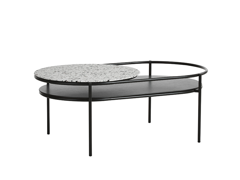 TABLE BASSE 110753 VERDE NOIR & TERRAZZO (VUE DE PROFIL) woud