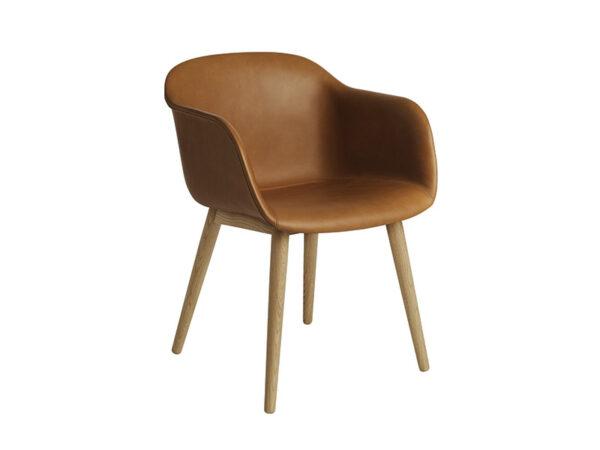 Fauteuil pieds chêne naturel et assise en cuir cognac FIBER CHAIR LEATHER_50505 - OAK_COGNC muuto