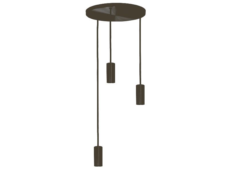 Plafonnier de suspension 3 lampes sans plaques HALO R3 GRAPHITE cvl