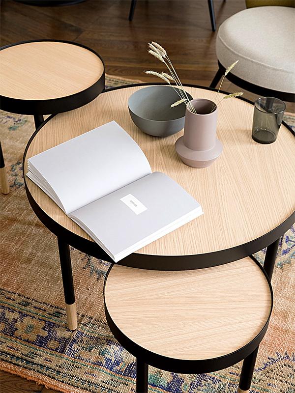 Ambiance collection TABLE BASSE ET BOUTS DE CANAPÉ EDMOND NOIR & BOIS (1) résistub productions