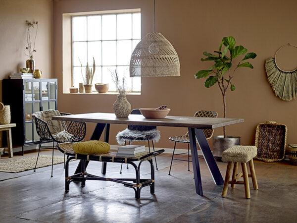 Ambiance chaise en rotin & métal KAMA NOIR_82041305 bloomingville