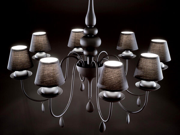 Ambiance lustre BLANCHE 8 LAMPES NOIR_111896 ideal lux