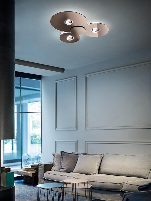 Ambiance plafonnier BUGIA CUIVRE BRILLANT 3X15W LED (3465 LM-3000°K)_161048 studio italia