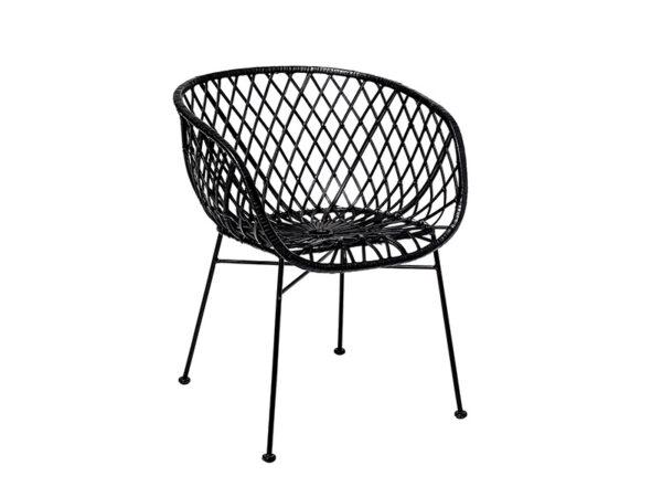 Chaise en rotin & métal KAMA NOIR (PROFIL GAUCHE)_82041305 bloomingville