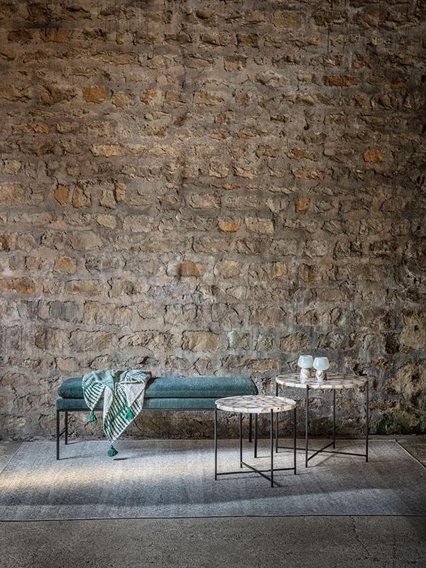 Ambiance banc en polyester et métal GALLET VERT FONCÉ_37245-DGE-10 pomax home collection
