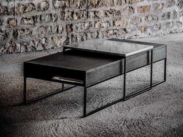 Ambiance table basse noire avec tiroir et pieds métal noir HEDON_37527-BLA-15 (avec extension table en marbre HEDON_38644-WHI-05) (2) pomax home collection