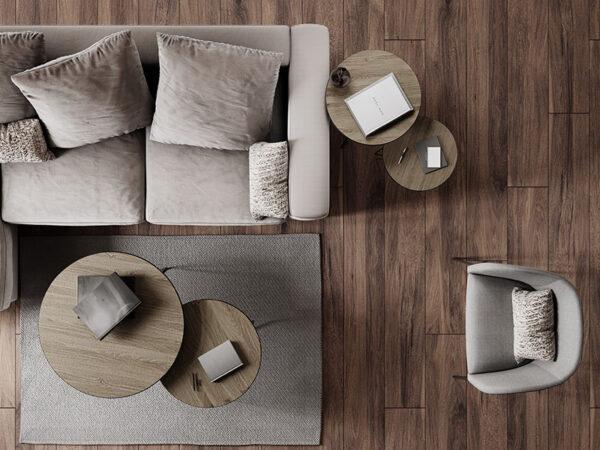 Ambiance tables basses en métal et bois MISO NATUREL_33266-NAT pomax home collection