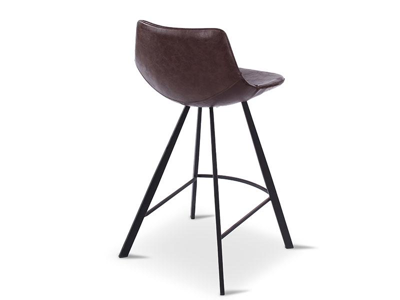 Chaise de bar ALICIA BRUN, pieds en métal noir (profil arrière droite)_1237 castle line