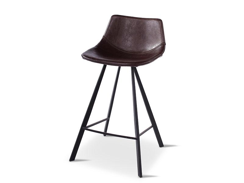 Chaise de bar ALICIA BRUN, pieds en métal noir (profil de droite)_1237 castle line