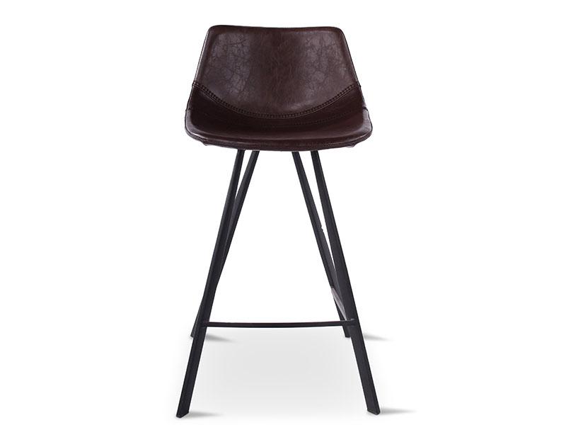 Chaise de bar ALICIA BRUN, pieds en métal noir (vue de face)_1237 castle line