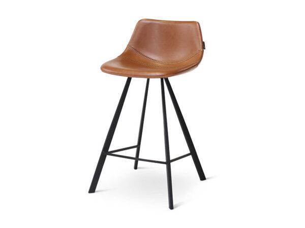Chaise de bar ALICIA COGNAC, pieds en métal noir (profil de droite)_1238 castle line