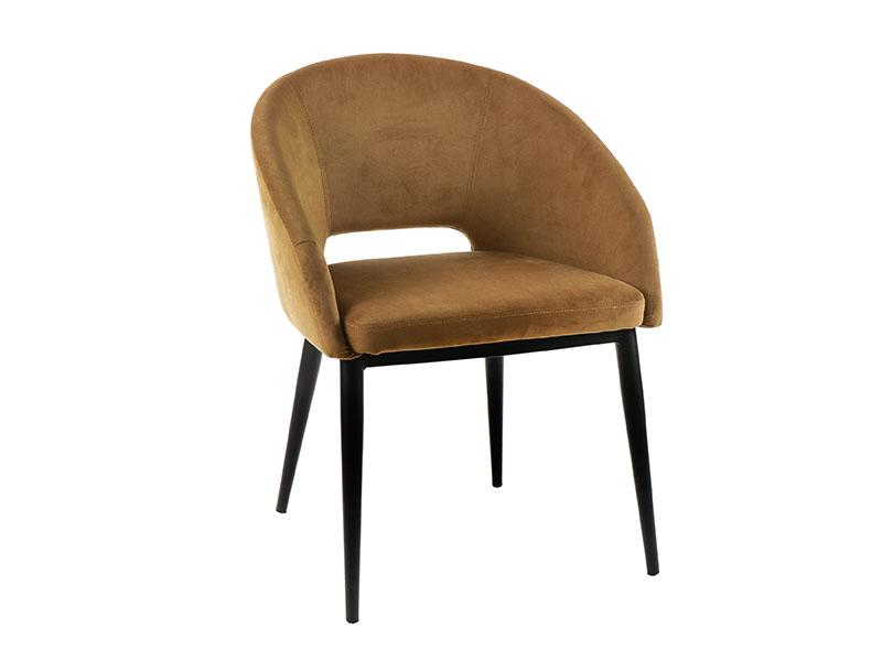 Chaise en velours et métal SYRAH CARAMEL_36724-CAR pomax home collection