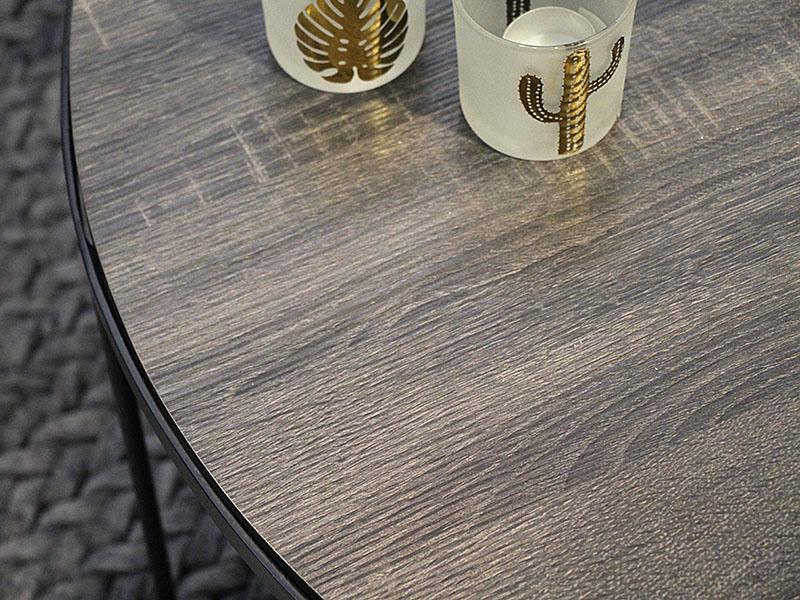 Détail tables basses en métal et bois MISO NATUREL_33266-NAT pomax home collection