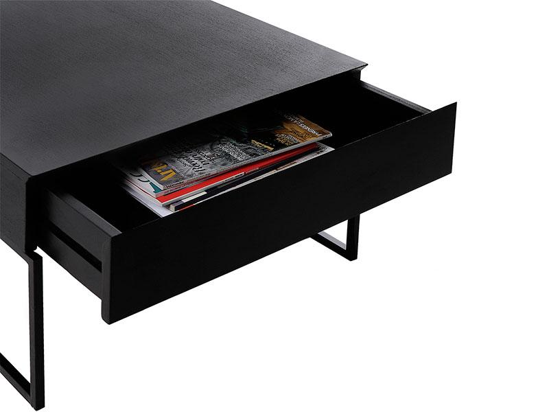 Détail tiroir table basse noire HEDON_37527-BLA-15 pomax home collection