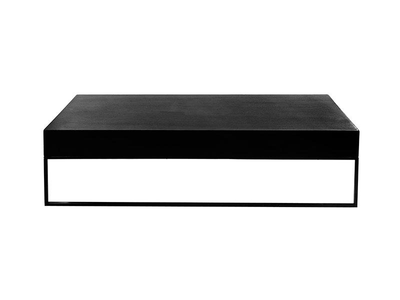 Table basse noire avec tiroir et pieds métal noir HEDON_37527-BLA-15 (vue de face) pomax home collection