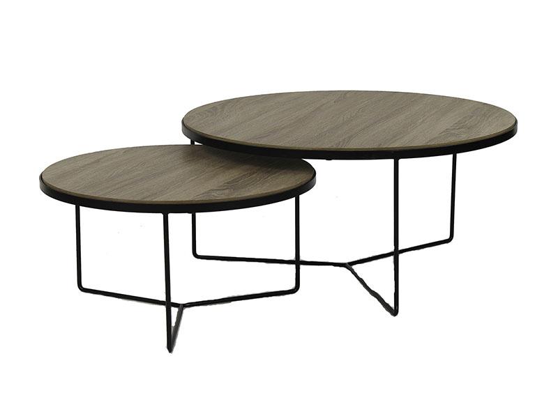 Tables basses en métal et bois MISO NATUREL_33266-NAT pomax home collection