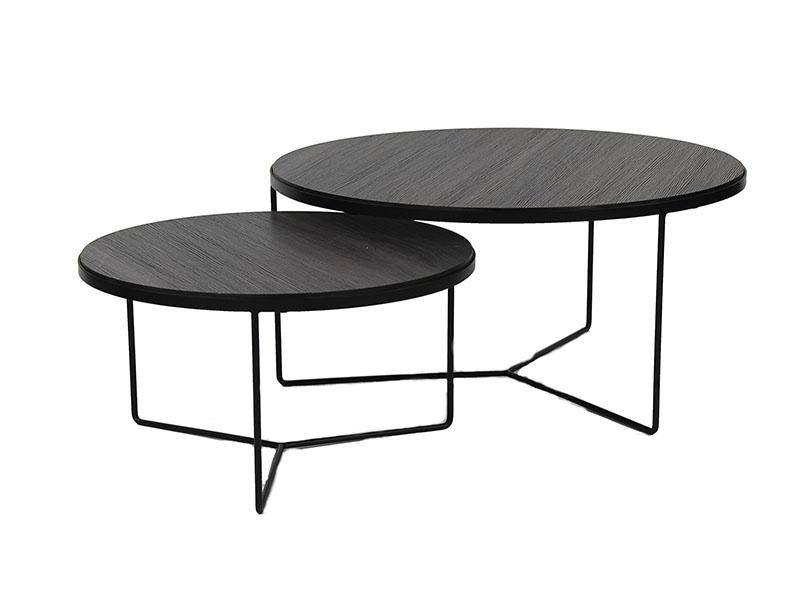 Tables basses en métal et bois MISO NOIR_33266-BLA pomax home collection