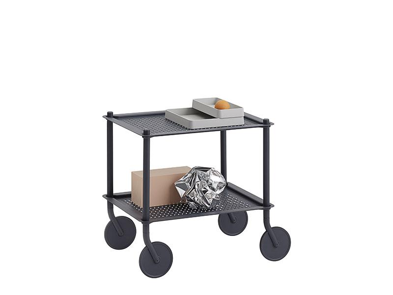 Présentation chariot FLOW TROLLEY 2 TABLETTES BLEU GRIS_98337 muuto