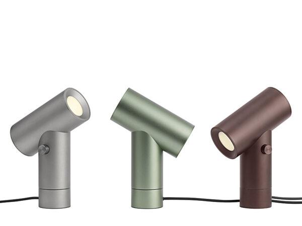 Ambiance lampes de table BEAM LAMP ALUMINIUM 12124, VERT 12123 & OMBRE 12122 muuto