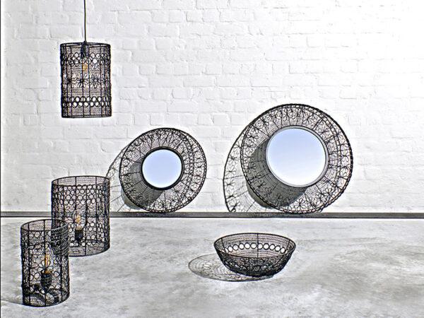 Ambiance miroir noir MAZE NOIR Ø 64 CM_37109-BLA-15 pomax home collection