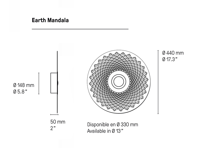 Cotations applique en laiton EARTH MANDALA Ø33 CM BRUNI & GRAPHITE cvl contract