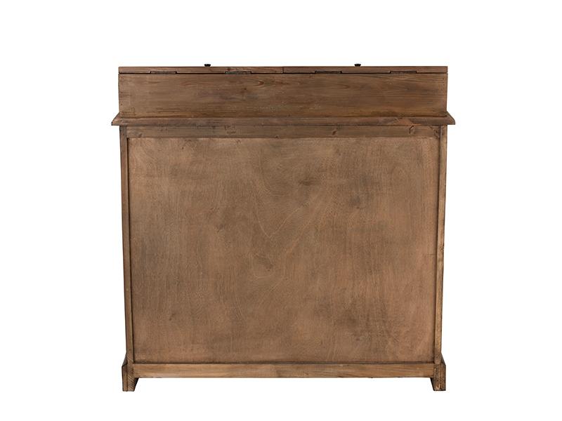 Meuble de métier en bois massif avec vitrine et tiroirs HOME SPIRIT (VUE ARRIÈRE)_95980 jolipa