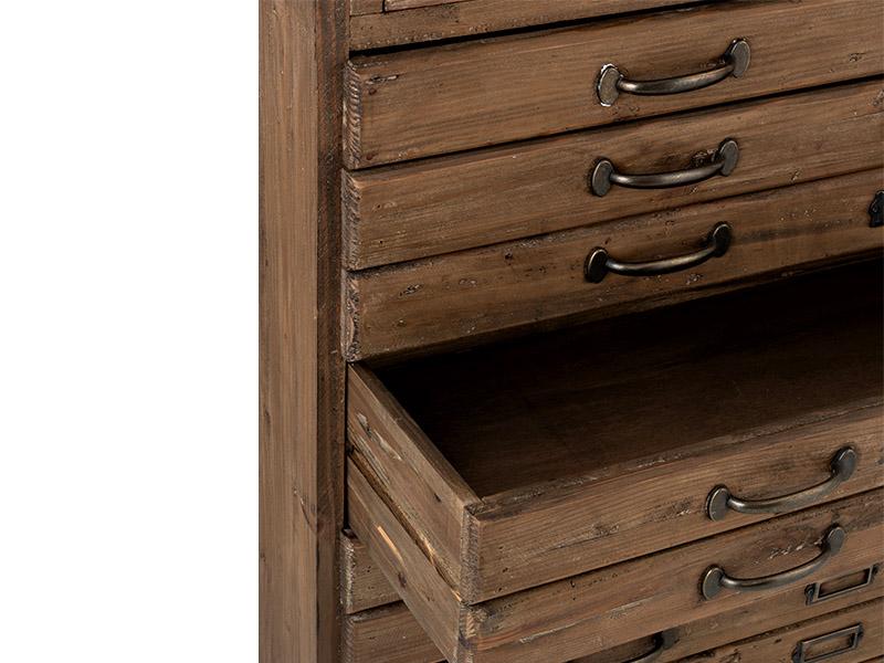 Meuble de métier en bois massif avec vitrine et tiroirs HOME SPIRIT (VUE EN DÉTAIL TIROIRS)_95980 (1) jolipa