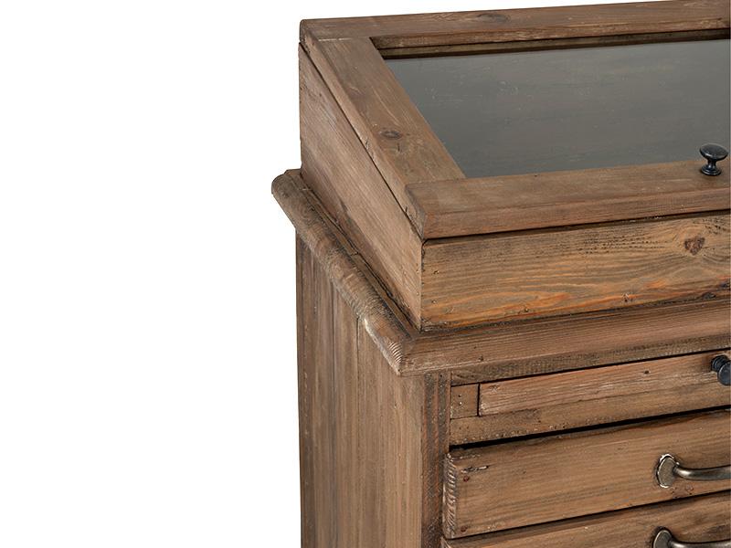 Meuble de métier en bois massif avec vitrine et tiroirs HOME SPIRIT (VUE EN DÉTAIL VITRINE)_95980 (1) jolipa