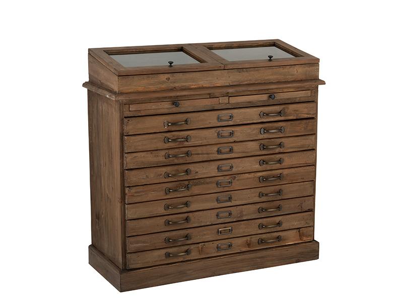 Meuble de métier en bois massif avec vitrine et tiroirs HOME SPIRIT (VUE EN PERSPECTIVE)_95980 jolipa