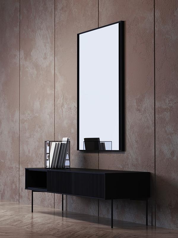 Ambiance meuble TV métal et placage chêne noir PUDONG_Z2123-BLA-15 pomax home collection