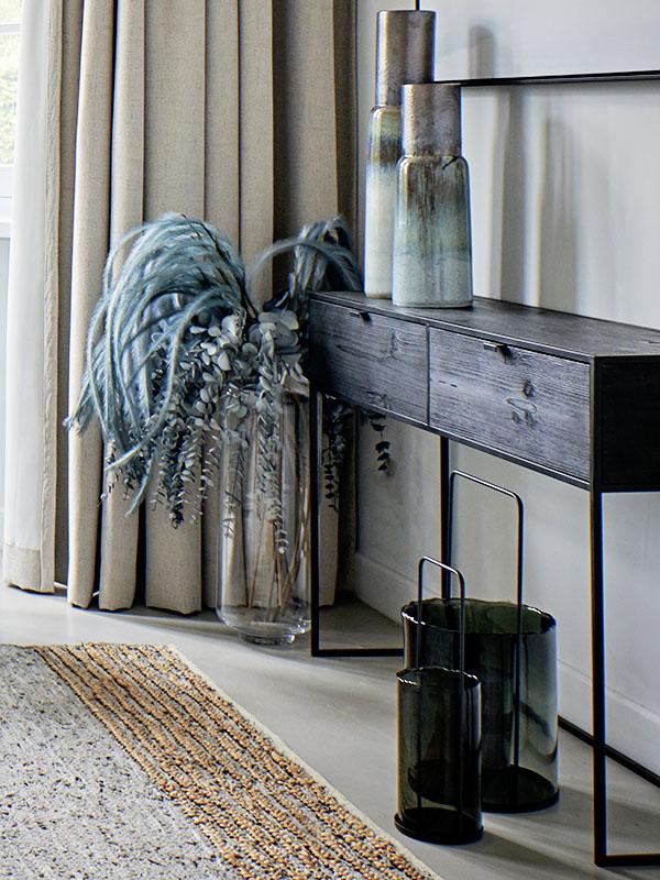Ambiance meuble console en métal et bois avec 2 tiroirs ESZENTIAL_38785-BLA-15 pomax home collection