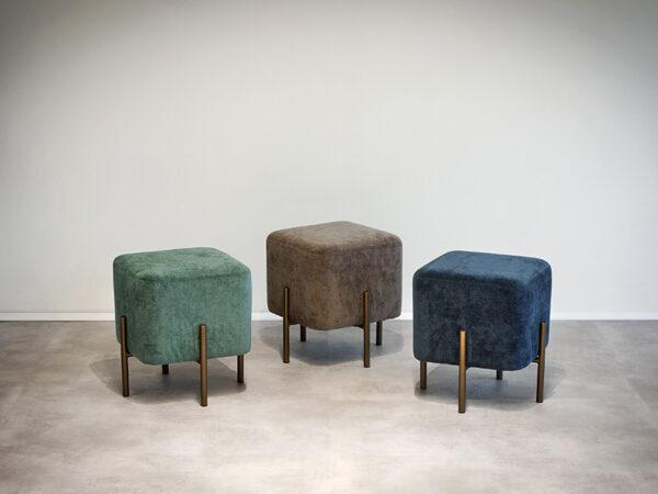 Ambiance poufs KIKA COLORI AQUA, BRONZE, PÉTROLE (1) pomax home collection