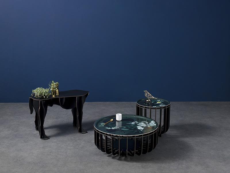 Ambiance tables basse intérieur et extérieur MEDUSA Ø39 & Ø65 NOIR BROSSÉ & VIBRATION EMERAUDE (1) ibride
