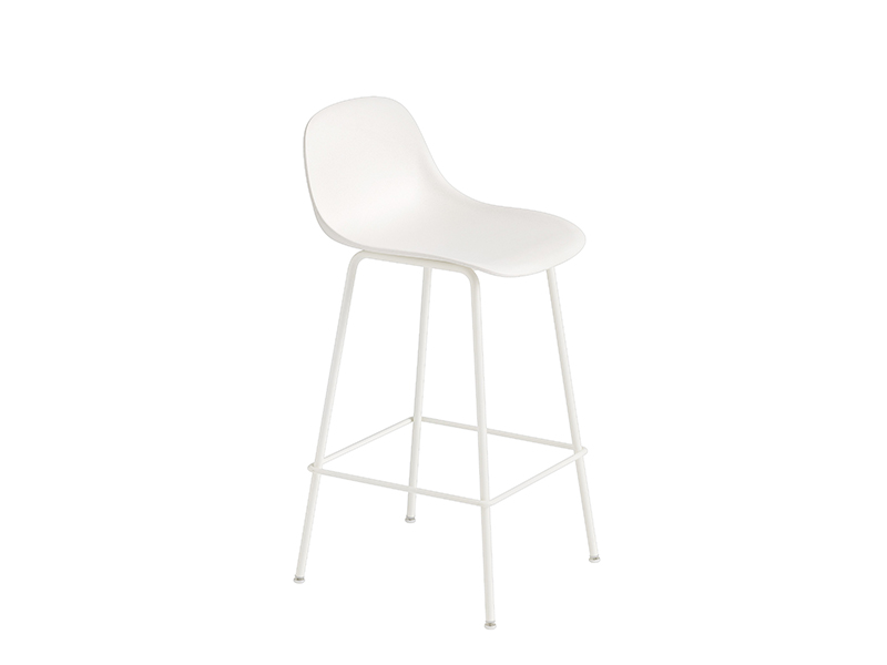 Chaise de bar FIBER BAR STOOL BLANC (HAUTEUR D'ASSISE 65 CM)_23684 muuto