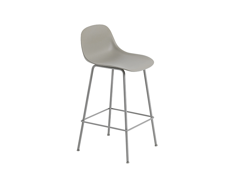 Chaise de bar FIBER BAR STOOL GRIS (HAUTEUR D'ASSISE 65 CM)_23681 muuto