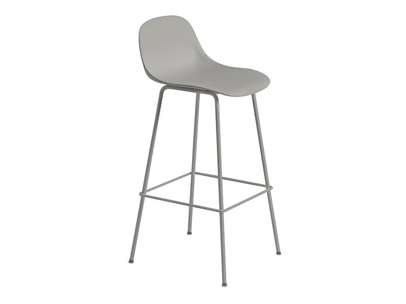 Chaise de bar FIBER BAR STOOL GRIS (HAUTEUR D'ASSISE 75 CM)_23711 muuto