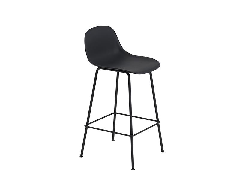 Chaise de bar FIBER BAR STOOL NOIR (HAUTEUR D'ASSISE 65 CM)_23680 muuto