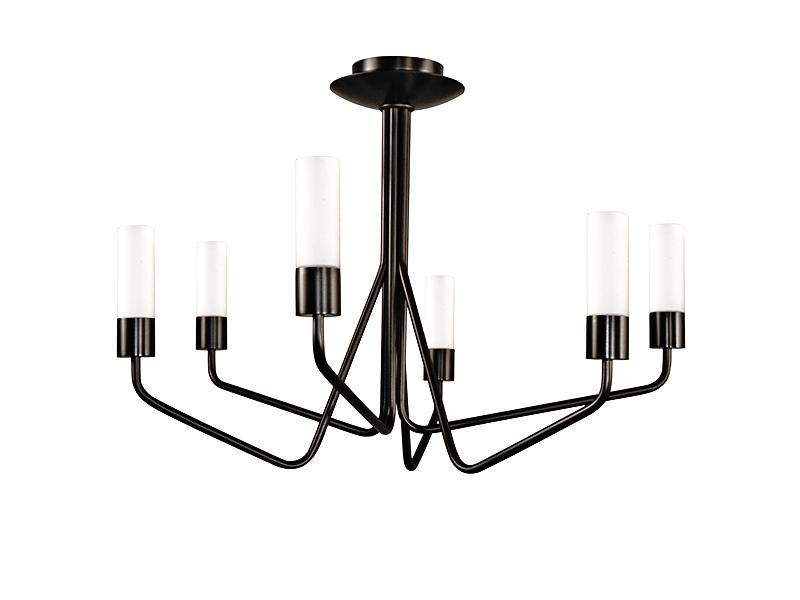 Lustre TESS 6 LAMPES FINITION GRAPHITE AVEC VERRES OPALES_TESS 6 GR TU10 cvl manufacture