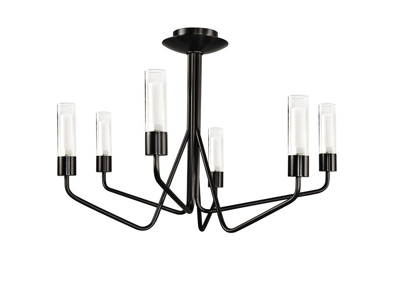 Lustre TESS 6 LAMPES FINITION GRAPHITE AVEC VERRES TRANSPARENTS_TESS 6 GR TU12 cvl manufacture