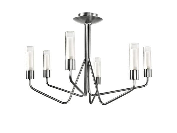 Lustre TESS 6 LAMPES FINITION NICKEL AVEC VERRES TRANSPARENTS_TESS 6 NI TU12 cvl manufacture