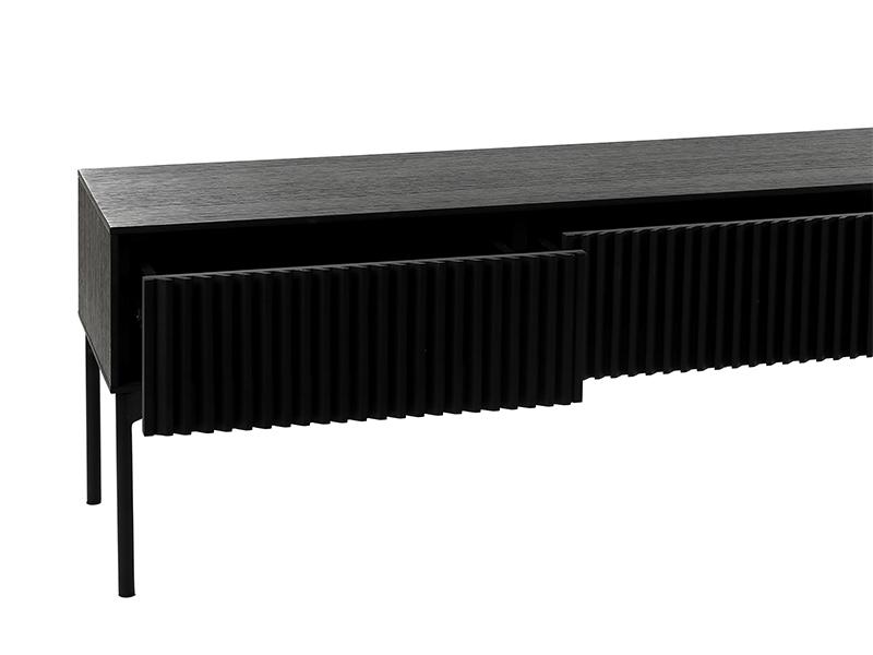 Meuble TV métal et placage chêne noir PUDONG_Z2123-BLA-15 (VUE EN DÉTAIL) pomax home collection