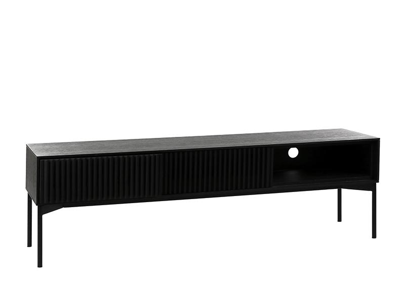 Meuble TV métal et placage chêne noir PUDONG_Z2123-BLA-15 (VUE TIROIRS FERMÉS) pomax home collection