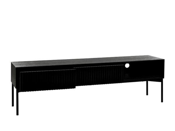 Meuble TV métal et placage chêne noir PUDONG_Z2123-BLA-15 (VUE TIROIRS OUVERTS) pomax home collection