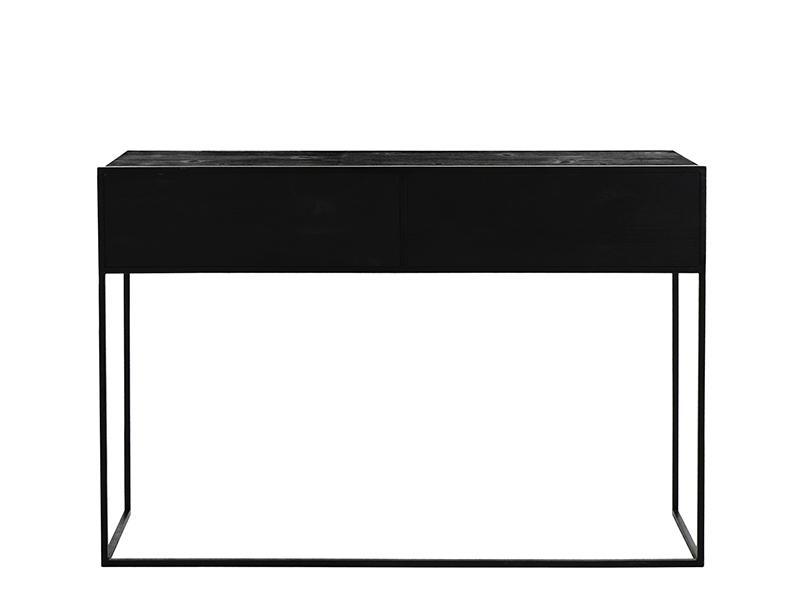 Meuble console en métal et bois avec 2 tiroirs ESZENTIAL (VUE ARRIÈRE)_38785-BLA-15 pomax home collection