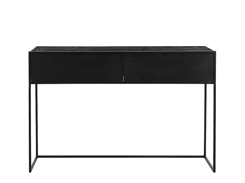 Meuble console en métal et bois avec 2 tiroirs ESZENTIAL (VUE AVANT)_38785-BLA-15 pomax home collection