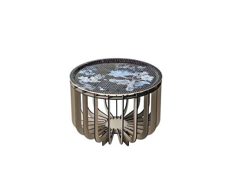 Table basse intérieur et d'extérieur MEDUSA Ø46 GRIS CLAIR MAT & VIBRATION SAPHIR ibride