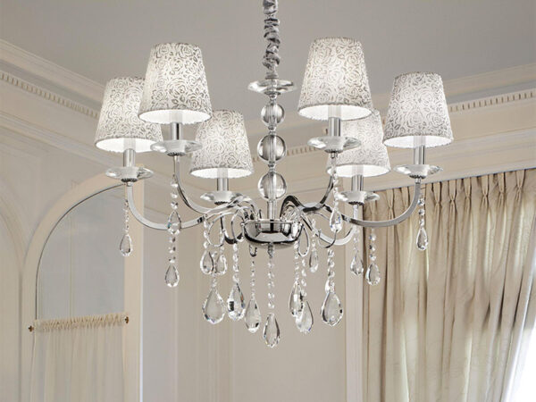 Ambiance LUSTRE A PAMPILLES 088051 PANTHEON SP6_ARGENTO ideal lux